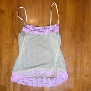 Adore Me Pink Yellow Lace Lingerie Top Size Medium